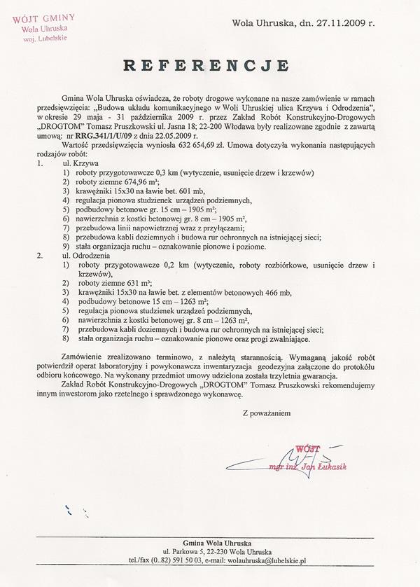 Budowa układu komunikacyjnego - ul. Krzywa