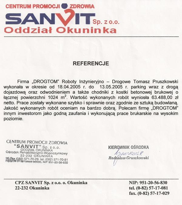 Budowa parkingu w Centrum Promocji Zdrowia SANVIT Sp. z o.o.