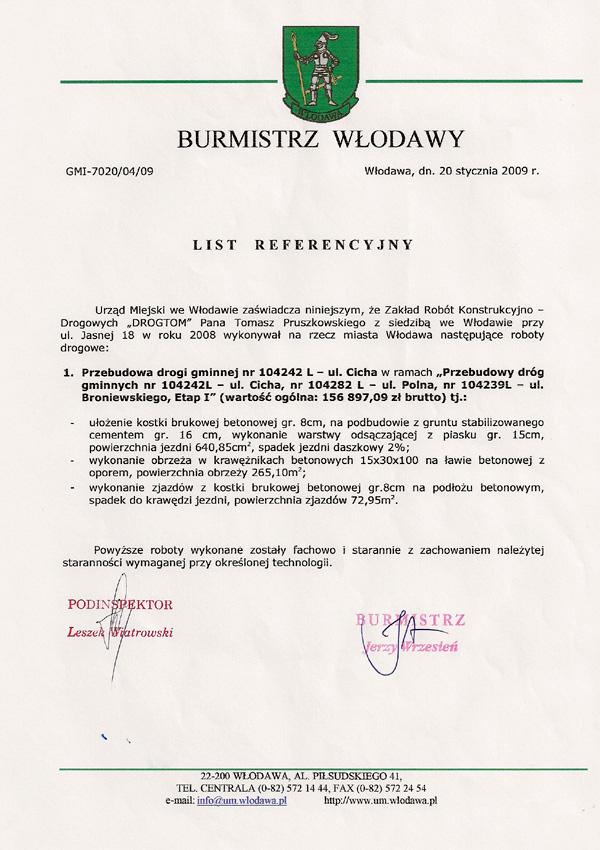 Przebudowa drogi gminnej Nr 104242 – ul. Cicha