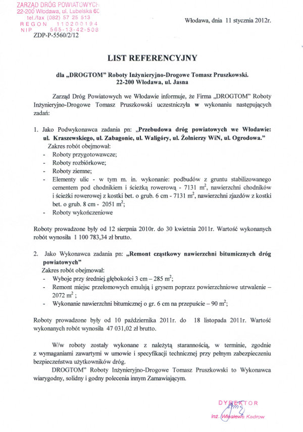 Przebudowa dróg powiatowych we Włodawie.